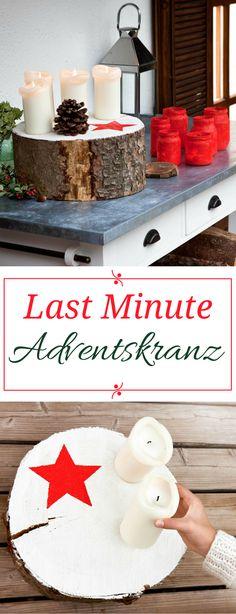 Adventskranz DIY - für Nichtbastler und ganz Eilige. Schnell gemacht - eignet sich auch für Outdoor. Mit so einer einfachen Idee kann wirklich jeder seinen Adventskranz selber machen.