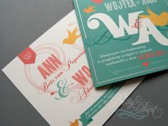 Romantic and colorful wedding invitations in teal, coral and yellow with a hand drawn logo. Custom design by Pretty in Print.