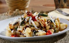#Barilla Three Cheese Tortellini Salad with Roasted Veggies, Shredded Parmigiano Chese, and Balsamic Drizzle