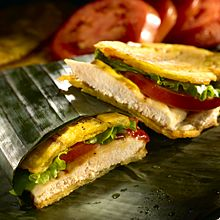 This playful, plantain sandwich fits the bill perfectly! The key ingredient is GOYA® Patacones, plantains that are sliced lengthwise and deep-fried to an appealing crunch. Moist, warm chicken breast is layered between the crispy patacones. Add lettuce, tomato, and your favorite condiments