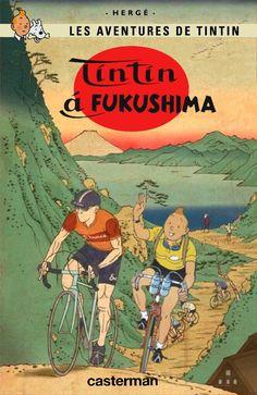 Tintin à Fukushima Tin Tin Cartoon, Dirt Bike Tattoo, Album Tintin, Velo Retro, Bike Sketch, Fukushima, Bike Illustration, Bike Poster, Bicycle Art