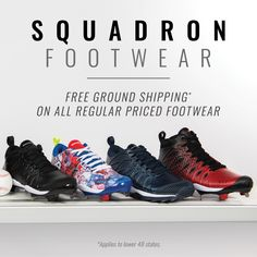 d43a599734a7 Get free ground shipping, free returns, and free exchanges on all regular  priced Squadron footwear. Use code: SHOESHIP19 at checkout. #boombah  #footwear ...