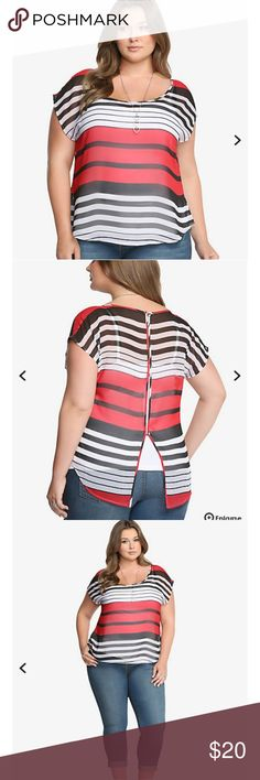 """Striped Button-Back Top This is one stripe look that lives up to the hype. It's a contemporary red, black, and white pattern that's totally flattering. This lightweight, semi-sheer chiffon top is complete with a button-up back, short dolman sleeves, and an on-trend hi-lo hem.   * Measures 29 1/2"""" from shoulder * Polyester * Wash cold, dry low torrid Tops Blouses"""