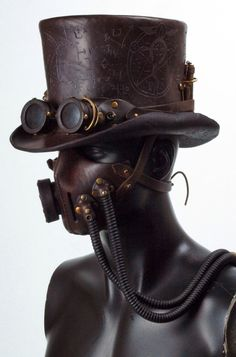Steampunk tophat and gas mask
