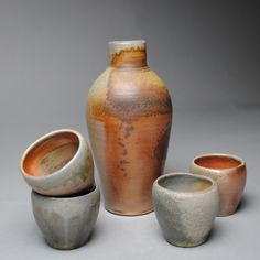 Wood Fired Sake Whiskey Set with Four Cups D36 by JohnMcCoyPottery on Etsy