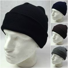Knit Beanie Visor Cap Winter Ski Snowboard Hat Un//Cuffed for Ear Flaps Women Men