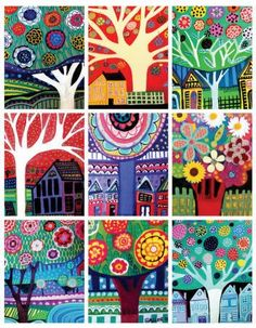 Folk Art Trees by Heather Galler