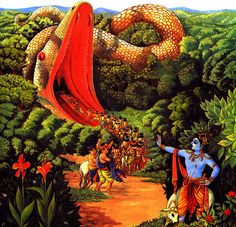 Krsna Defeats the embodiment of Cruelty Aghasura Krishna Lila, Krishna Art, Hare Krishna, Lord Krishna Wallpapers, Radha Krishna Wallpaper, Radha Krishna Pictures, Krishna Images, Meditation Benefits, Blue Balloons
