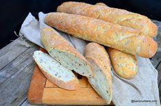 Baghete de casa cu seminte reteta pas cu pas | Savori Urbane Hot Dog Buns, Hot Dogs, Dough Recipe, Avocado, Guacamole, Bread, Recipes, Food, Gardening