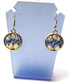 boucles d'oreilles arbre de vie bleu et jaune Pendant Necklace, Drop Earrings, Jewelry, Yellow, Blue, Tree Of Life, Ears, Boucle D'oreille, Fimo