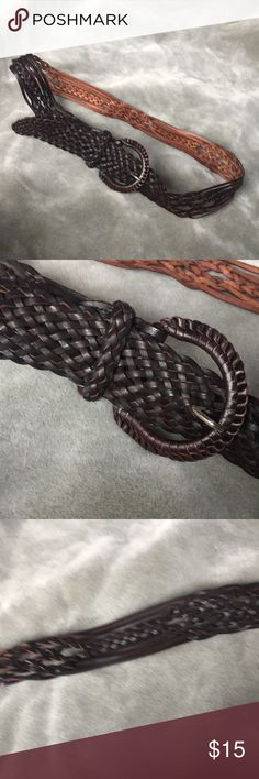 """Brown Leather Braided Belt Unique braided belt in brown leather. Total length is 45"""". Fairly adjustable, no specific holes. Small nick on buckle where the metal part of buckle is. Accessories Belts"""