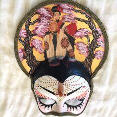 "Venetian style costume, handmade mask, geisha costume, theatrical and decorative handmade mask, ""Geisha princess"" by EthnicDrops on Etsy https://www.etsy.com/listing/477010706/venetian-style-costume-handmade-mask"