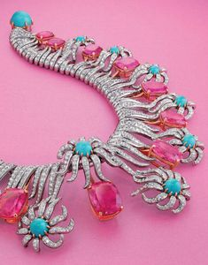 From the Estate of Carroll Petrie. A multi-gem and diamond 'Hedges and Rows' necklace, by Jean Schlumberger, Tiffany & Co.
