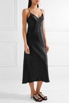 Vince - Satin Midi Dress - Black - x small