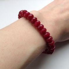 Red Ruby Bracelet. Genuine Semi Precious Gemstone Bracelet. Natural.Pro Handmade