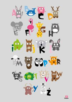 Items similar to Animal alphabet on Etsy Alphabet Images, Alphabet For Kids, Alphabet And Numbers, Alphabet Design, Infant Activities, Activities For Kids, Alfabeto Animal, Kids Room Paint, Kawaii Illustration