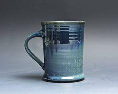 Pottery coffee mug, ceramic mug, stoneware tea cup deep blue 14 oz 4019 by BlueParrotPots on Etsy