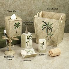 fiji ii palm tree tropical bath accessories by croscill - Palm Tree Decor