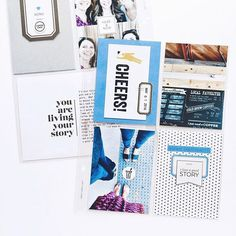 """WEBSTA @ jecarl - Layout using the collection """"Chapters"""" by @peppermintgranberg for @the_lilypad. Love that bright blue!Coffee stamps from @kellypurkeyshop / link in my profile. Project Life 6x8, Project Life Freebies, Project Life Scrapbook, Happy Planner, Photo Book, Mini Albums, Layout, How To Plan, Instagram Posts"""