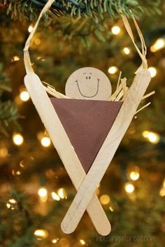 Nativity Craft for Kids ~ Popsicle Stick Manger by Nativi. - Nativity Craft for Kids ~ Popsicle Stick Manger by Nativity Craft for Kids ~ - Preschool Christmas, Christmas Activities, Christmas Crafts For Kids, Kids Christmas, Holiday Crafts, Popsicle Stick Crafts, Popsicle Sticks, Craft Stick Crafts, Preschool Crafts