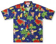 fdcbe808 Hawaiian Shirts From Aloha Shirt Shop   RJC All About Christmas - Navy    ARRC-