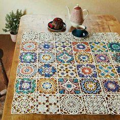 Crochet table cover.
