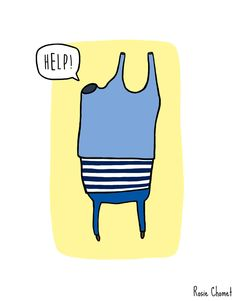 Getting stuck in the armhole when trying to put on a sweater  Illustartion by Rosie Chomet