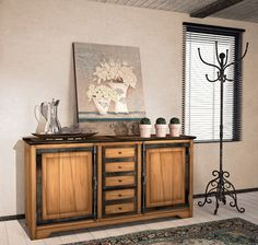 Sideboard with two doors, five drawers and two adjustable wooden shelves. Made in Italy  www.casanobile.it