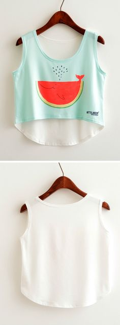 Just take this and enjoy your beach weekend! This crop top features fruit graphic, round neck, sleeveless design. More collection at oasap.com http://spotpopfashion.com/wwf9