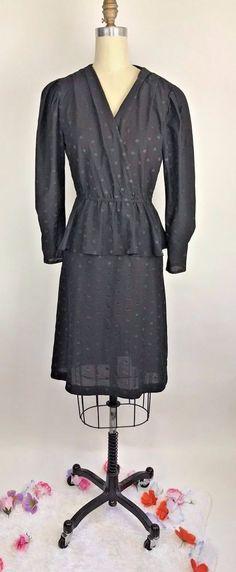Vintage 80s Black Dress Polka Dot Peplum Boho Cocktail Party Secretary Midi L #JenJen #midi #cocktail