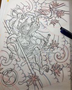 #雷神 #下絵 #raijin #drawing #tattoo #reikotattoo #studiokeen #japan #nagoyatattoo #tokyotattoo #irezumi #タトゥー #刺青 #名古屋 #大須 #矢場町 #東京
