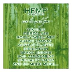 Did You Know That #HempBast Can Be Used To Make Every Day Things? #Hemp #PureHemp #SoilAmendment #Rope #EcoPlastic