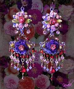 Purple Passion Violet Porcelain Rose Chandelier Earrings by kerala Buy Earrings, Flower Earrings, China Dinnerware Sets, Flower Collage, Victorian Flowers, Swarovski Crystal Beads, Satin Flowers, Victorian Jewelry, Chandelier Earrings