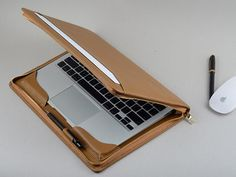 Light Khaki Leather Zipper Around Business Portfolio Cover for Apple Mac Air 11 and 13 inch Laptop with Full Protection Macbook Air Case