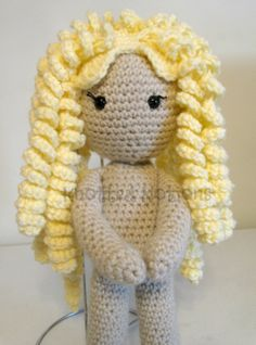 Here is the Just My Size Sammy Doll designed by Knotted Notions featuring the all over curly hair style.  This pattern comes with many different hair style options!! See more styles at www.facebook,com/ByAmber