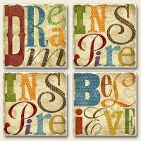 Inspirational 4 Pack Square Coasters