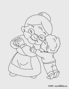 Grandma Coloring Pages Baby Coloring Pages, Coloring Books, Pictures To Paint, Cute Pictures, Eid Cards, Grandma And Grandpa, Doodle Designs, Mom Day, Grandparents Day