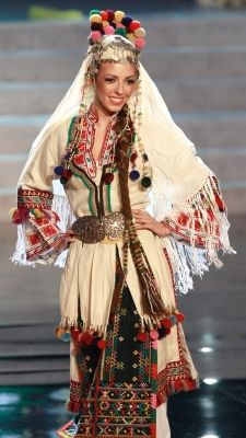 Miss Bulgaria Zhana Yaneva shows off the national costume for Bulgaria