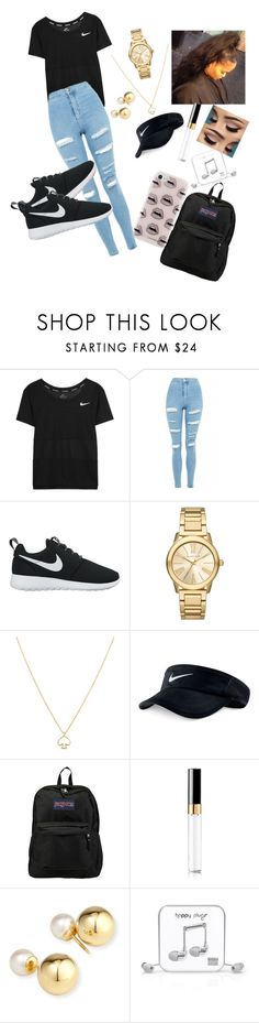 """""""school bell"""" by rebeccaseverin32 ❤ liked on Polyvore featuring NIKE, Topshop, Michael Kors, Kate Spade, JanSport, Yoko London, Happy Plugs and Rebecca Minkoff"""