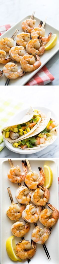 Grilled Shrimp Tacos with Mango Avocado Salsa! Great tips on how to grill shrimp perfectly every time. Serve in tacos with avocado mango salsa! On SimplyRecipes.com
