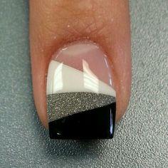 Black, White, Silver nails
