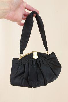 1940s Black Satin Evening Bag * Black Satin Handbag * 40s Clutch * Black and Gold Evening Bag * 1940s Purse * 40s Purse * Satin Purse by englishrosevintageoh on Etsy