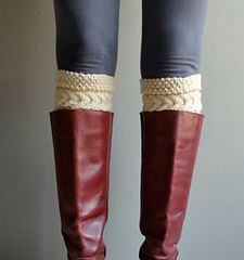 Easy claw cable boot cuff, worked flat and seamed when finished. Sizes can be adjusted.  - 4.5 to 5.0 sts = 1 inch
