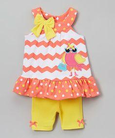 Another great find on #zulily! Orange & Yellow Bird Tank & Shorts Set - Infant, Toddler & Girls #zulilyfinds