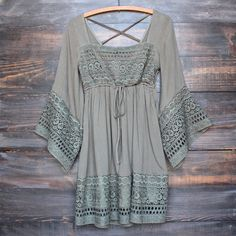 Boho dress with bell sleeves in Olive | Lve the Navy boho dress as well. ;-)