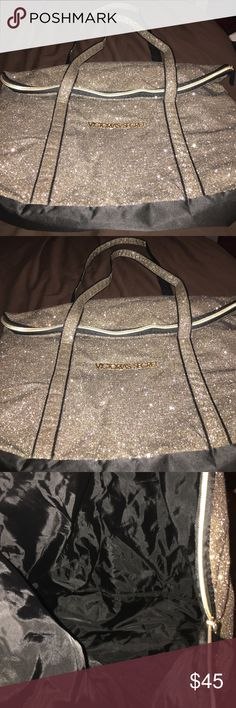 Gold glitter Victoria's Secret bag. Gold glitter Victoria's Secret bag. Never used, was given to me as a gift. Victoria's Secret Bags Totes