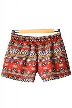 Retro Pattern Print Elastic Waist Cotton Shorts