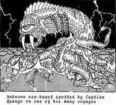 Unknown sea-beast by Erol Otus (Booty and the Beasts D&D/generic RPG supplement by Fantasy Art Enterprises, 1979)