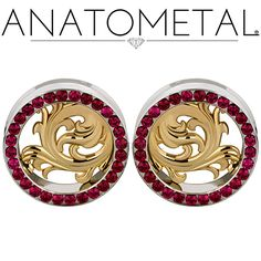 """1 1/2"""" Nouveau Eyelets in ASTM F-138 stainless steel with bronze Nouveau Inserts and synthetic Ruby gemstones"""