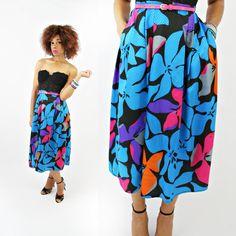 vintage 80s neon high WAIST POP art floral midi skirt size S/M by PasseNouveauVintage, $26.00